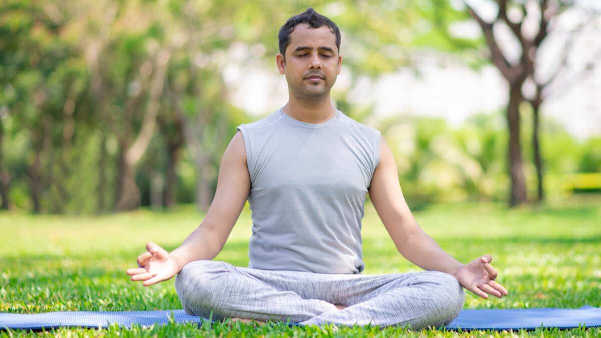 man doing breath meditation