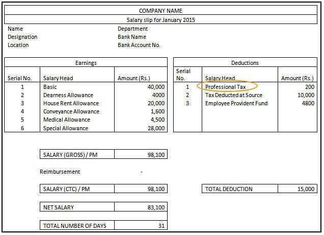 Professional Tax - Salary Slip